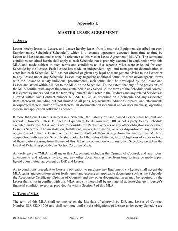 Appendix D Master Lease Agreement