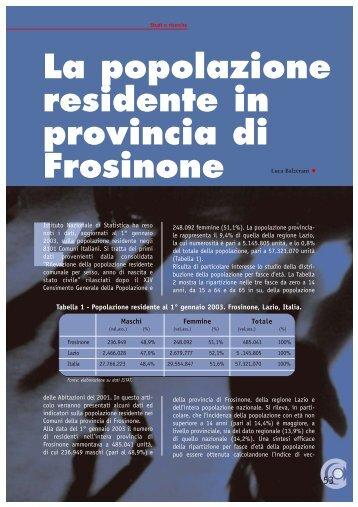 La popolazione residente in provincia di Frosinone L