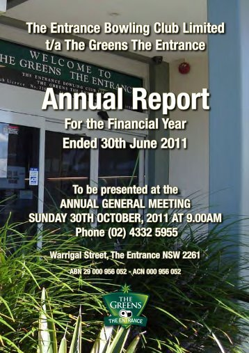 Annual Report - The Greens The Entrance