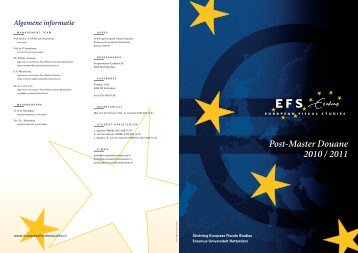 Post-Master Douane 2010 / 2011 - Europese Fiscale Studies