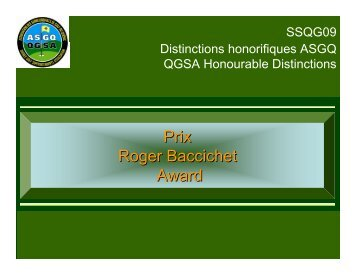 Prix Roger Baccichet Award
