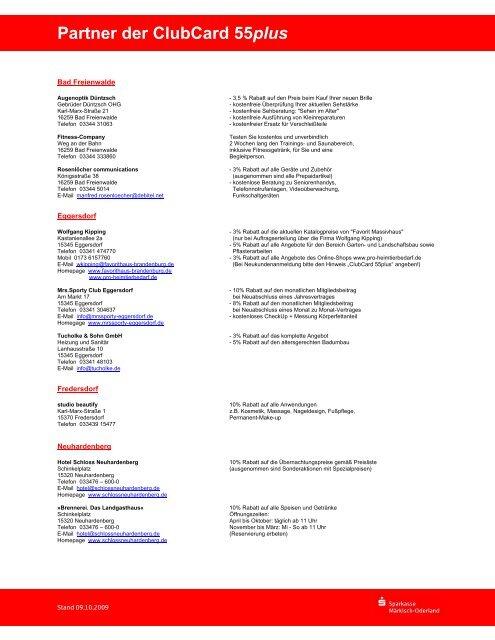 Partner der ClubCard 55plus - Sparkasse Märkisch-Oderland