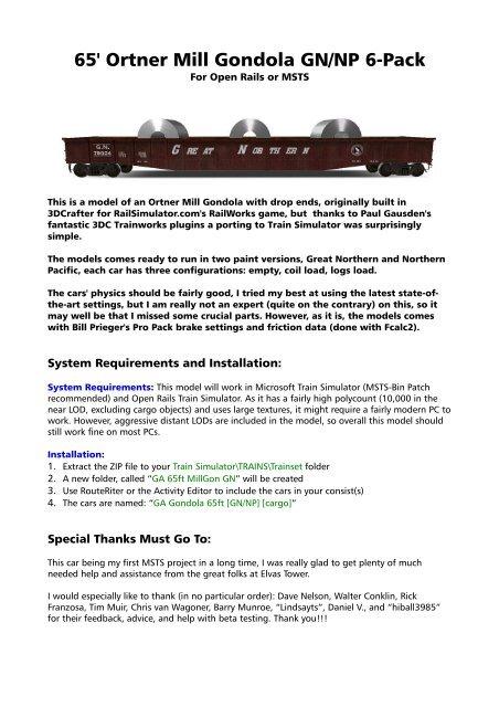 65' Ortner Mill Gondola GN/NP 6-Pack - Golden Age of Railroading