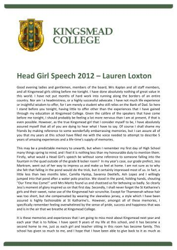 speech for election of head girl In this article we have asked our readers about their advice for head boy speeches below we have an example speech and some advice for those who need some pointers.