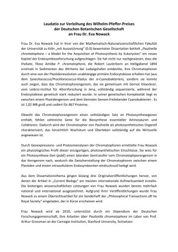 Laudatio zur Verleihung des Wilhelm-Pfeffer-Preises der Deutschen ...