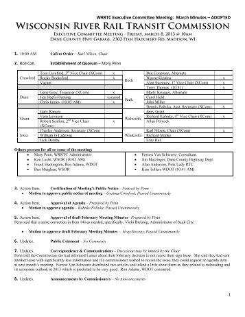 Wisconsin River Rail Transit Commission - Waukesha County