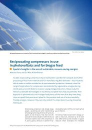 Reciprocating compressors in use in photovoltaics and for biogas feed
