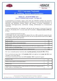 XXV Convegno Nazionale IT Auditing, Security e ... - IsacaRoma