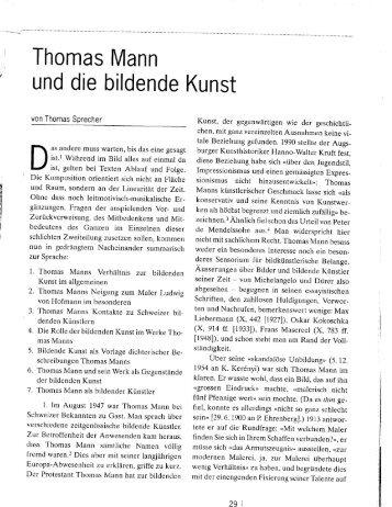 Thomas Mann und die bildende Kunst - Thomas–Mann–Archiv ...