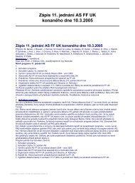 Zápis 11. jednání AS FF UK konaného dne 10.3.2005
