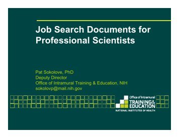 Job Search Documents for Professional Scientists - Office of ...