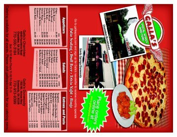 Place orders online at - Galla's Pizza