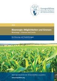 2012 Bioenergie: Möglichkeiten und Grenzen - Leopoldina