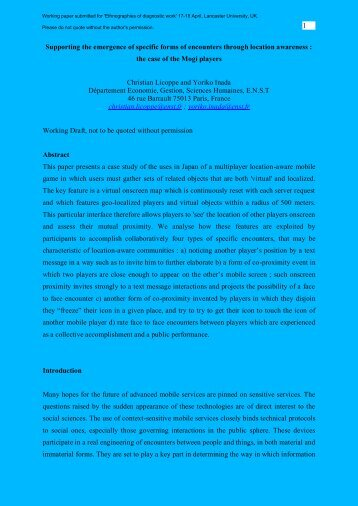 Working paper - Palcom