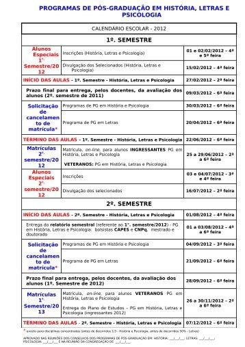 Calendário Escolar da Pós-graduação UNESP/Assis
