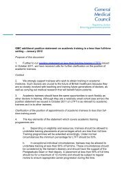 Additional position statement on academic training in a LTFT setting
