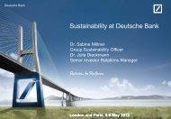 Sustainability at Deutsche Bank