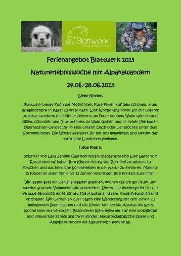 Kinderferienspecial Sommer: Alpaka-Wandern u.v.m. (ausgebucht!)