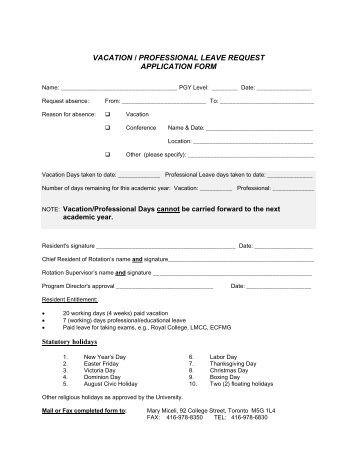 Vacation/Professional Leave Request Form - University of Toronto ...