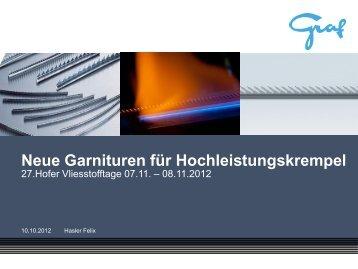 Neue Garnituren für Hochleistungskrempel - Hofer Vliesstofftage in ...