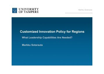 Customized Innovation Policy for Regions