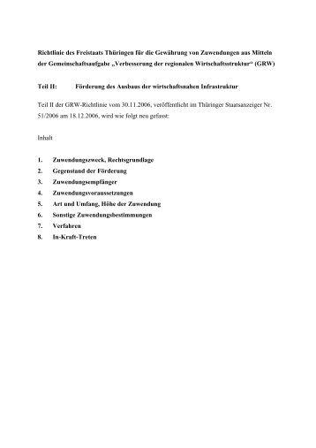 Richtlinie des Freistaats Thüringen für die Gewährung von ...