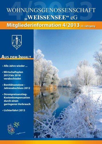 Mitgliederinformation 4/2013 - Wohnungsgenossenschaft ...