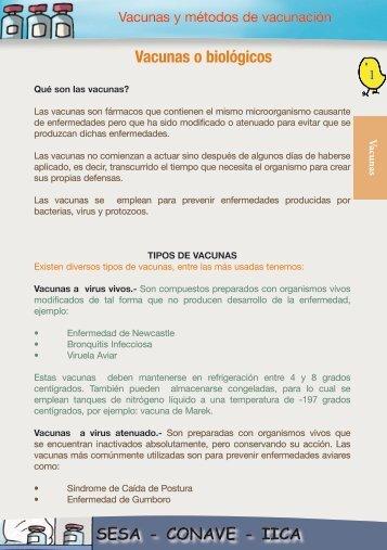 SESA - CONAVE - IICA Vacunas o biológicos