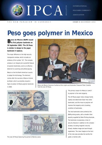 Peso goes polymer in Mexico - Polymer Bank Notes of the World