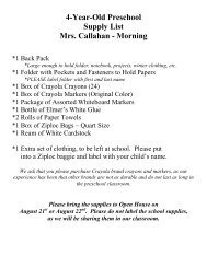 4-Year-Old Preschool Supply List Mrs. Callahan - Morning