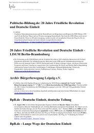 Politische-Bildung.de: 20 Jahre Friedliche Revolution und Deutsche ...