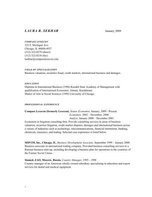 LAURA R  SEKHAR - Compass Lexecon