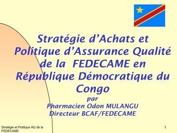 Stratégie d'Achats et Politique d'Assurance Qualité de la ... - ReMeD