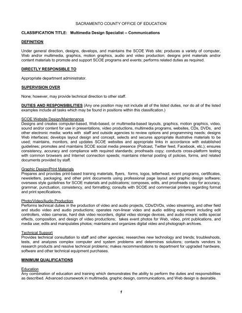 Multimedia Design Specialist—Communications - Sacramento
