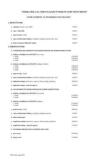 Cenik storitev 2012/2013 - Visoka Å¡ola za upravljanje in poslovanje ...