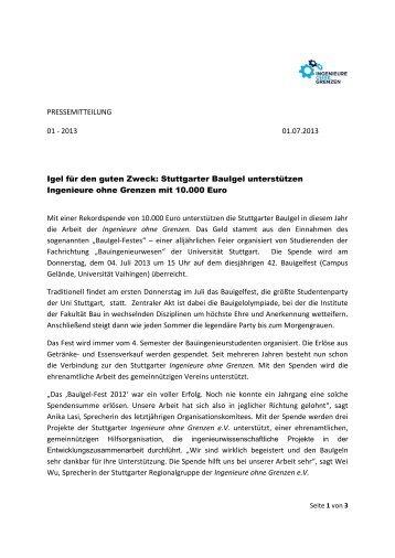 2013 01.07.2013 Igel für den guten Zweck: Stuttgarter BauIgel ...