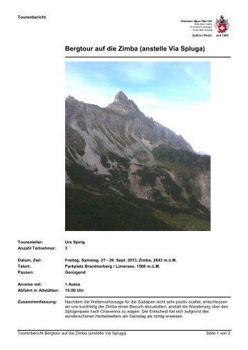 Bergtour auf die Zimba (anstelle Via Spluga) - JO-Rhein
