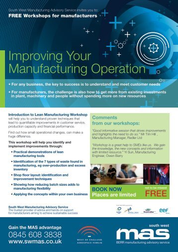 Improving your manufacturing operation workshops - SWMAS