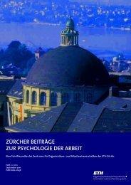 ZÜRCHER BEITRÄGE ZUR PSYCHOLOGIE ... - PdA - ETH Zürich