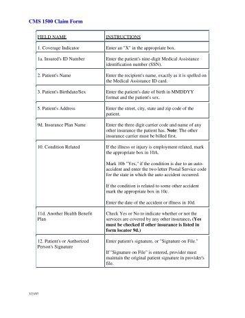 Appendix I Completing Claim Form Cms 1500
