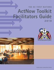 actNow Toolkit Facilitators Guide - First Nations Health Council
