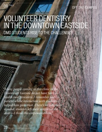 volunteer dentistry in the downtown eastside - UBC Dentistry