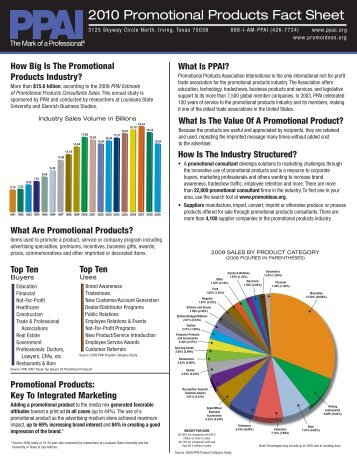 2010 Promotional Products Fact Sheet - Promotional Products Work!