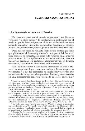 CAPITULO V ANALISIS DE CASOS: LOS HECHOS