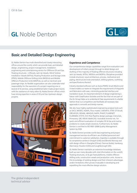 Basic And Detailed Design Engineering Gl Noble Denton