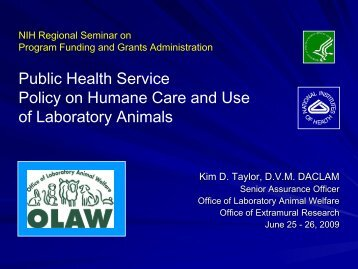 OLAW - Office of Laboratory Animal Welfare - Division of Biomedical ...