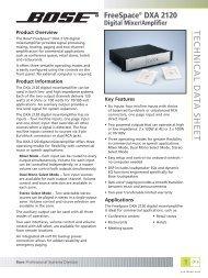 FreeSpace DXA 2120 Digital Mixer/Amplifier - Tech Data Sheet - Bose