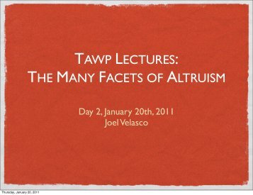 TAWP LECTURES: THE MANY FACETS OF ALTRUISM - Joel Velasco