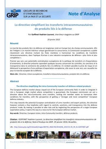 La directive simplifiant les transferts intracommunautaires de ... - Grip
