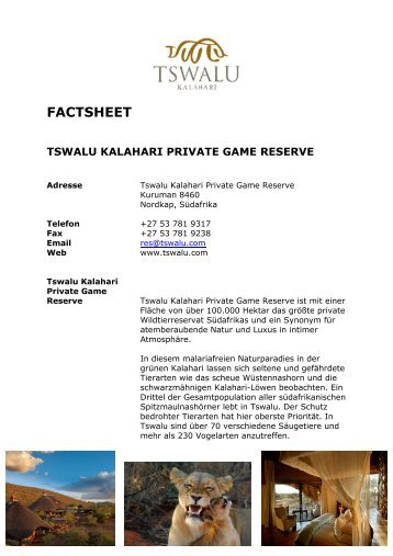 Factsheet Tswalu Kalahari Private Game Reserve